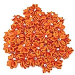 Orange-Satin-Ribbon-Flowers-with-Rhinestone-Diamante-Centre-25mm-Craft-Flower