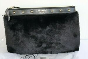 NEW Victoria's Secret Cosmetic Makeup Bag Black Faux Fur with Gold Colored Studs