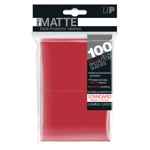 Ultra-PRO-Pro-Matte-Deck-Protector-Sleeves-Standard-Card-RED-100ct-66-x-91mm
