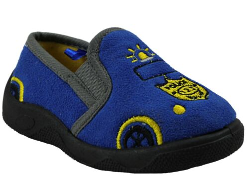 Boys Baby Infant Fire Engine Police Cars Slip On Warm Fleece Slippers Shoes Size