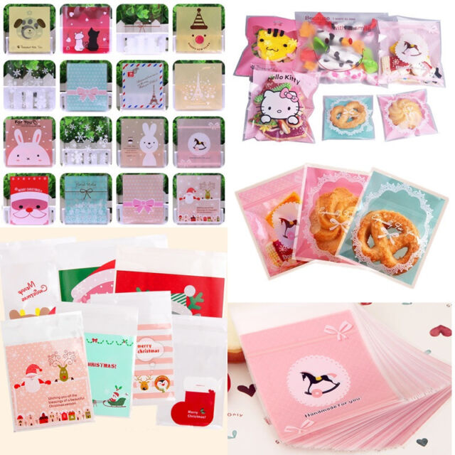 100pcs Cute Bakery Handmade Cookie Candy Bags Cartoon Self-Adhesive OPP Gift Bag