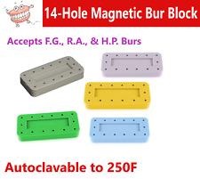 Magnetic Bur Block Dental Lab Holder Station Rectangular 14 Burs Fg Amp Ra Fgos
