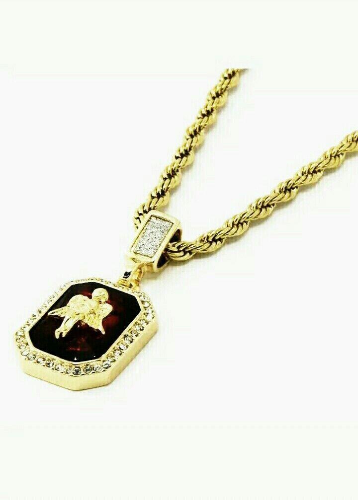 Cadena de 14k gold chapado para hombre women con Ruby red de moda Hip Hop rope