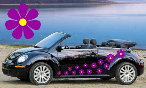 Flor coche calcomanías 28 flor de color púrpura y amarillo calcomanías Flor Automóvil Pegatinas