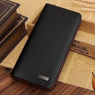 HOT Men's Long Leather Wallet Pockets Purse ID Credit Card Clutch Bifold Wallets
