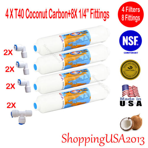4 Pcs T40 Inline Filter Carbon Coconut Water Filter RO 8 Fittings Connectors@@