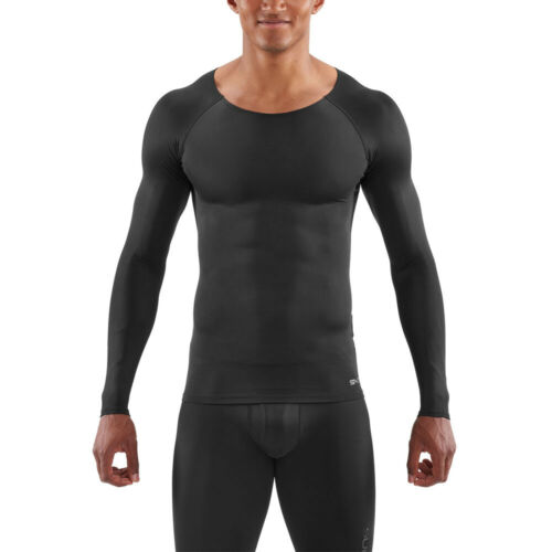 Skins Mens DNAmic Sport Recovery Long Sleeve Compression Top Black Sports