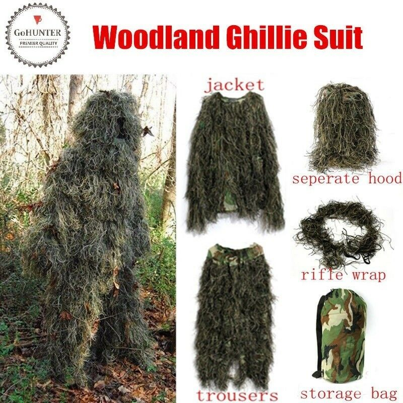 GOHunter Ghillie Suit 5pcs Woodland Camouflage Hunting Archery Sniper Clothing