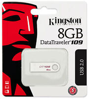 Kingston 8gb Data Traveler 109 Dt109 Usb 2.0 Flash Memory Pen Drive Thumb Stick