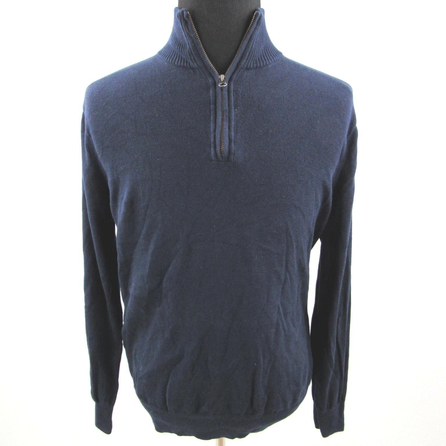 J Crew 1 2 Zip Sweater Mens Large bluee Cotton