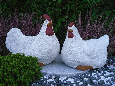 Henne// Huhn Metall Deko Handarbeit Gartendeko Gartenfigur 2er Set  Hahn u