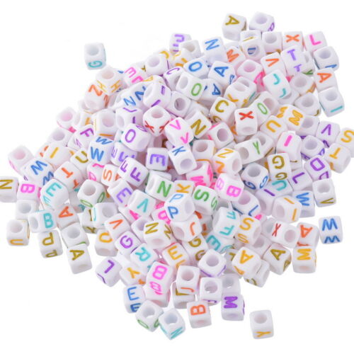 2500 Hello Mixed New Alphabet Letter Acrylic Cube Beads 6x6mm