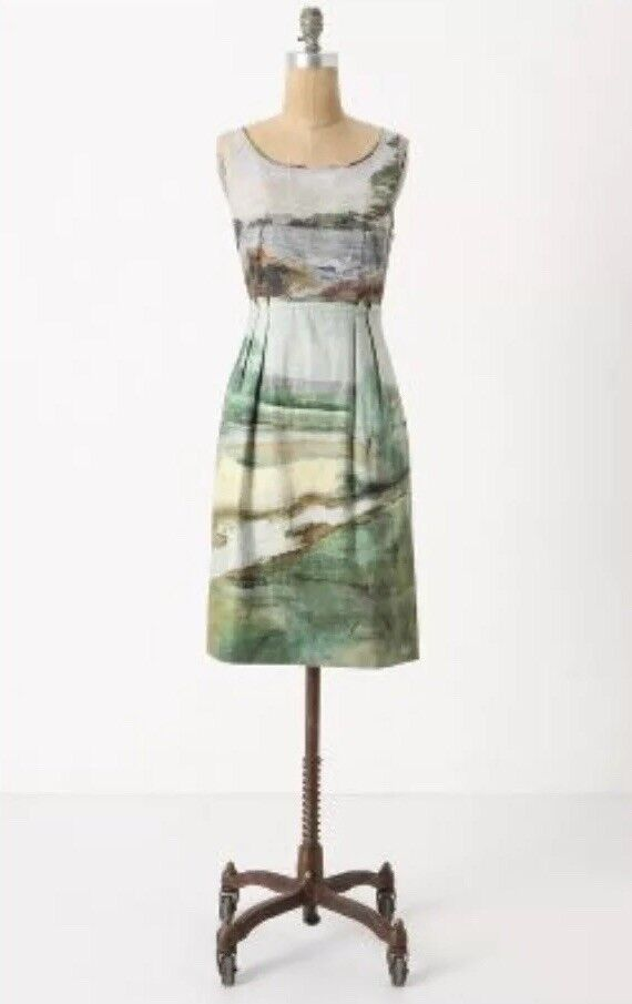 Vintage Anthropologie Odille Artist's Rendering Landscape Scenery Dress 2