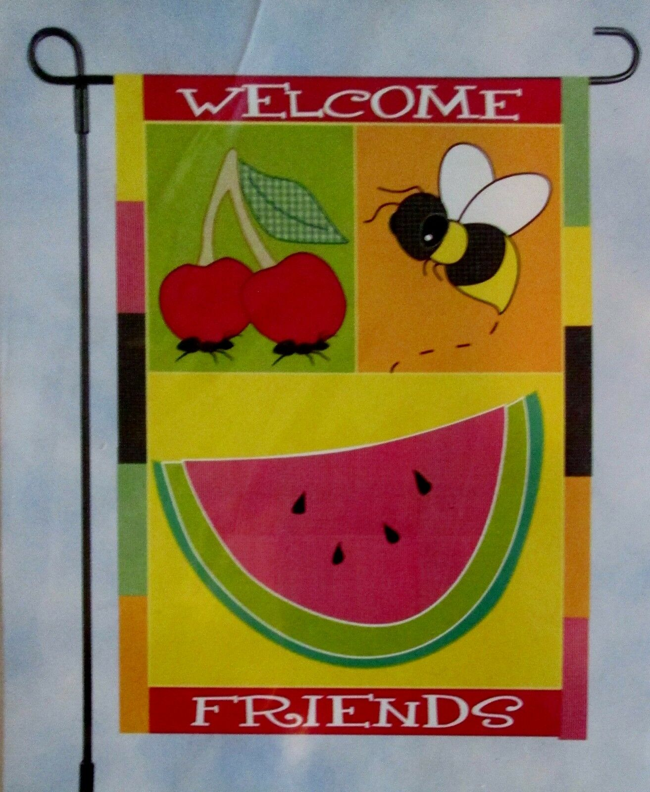 NEW LARGE FLAG BANNER 28X40 WELCOME FRIENDS Watermelon BEES Cherry SPRING Summer