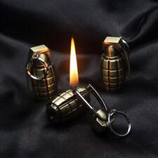 EDC Metal Grenade Fire Flint Matches Kerosene Gas Oil Lighter Keychain Camping