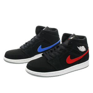 best cheap 07471 f255e Image is loading Nike-Air-Jordan-1-Mid-Retro-BLACK-RED-
