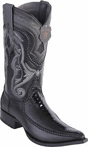 3X Toe Los Altos Men/'s Genuine Ostrich Leg Western Cowboy Boots Natural