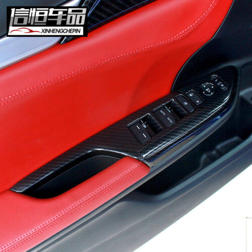 Carbon Fiber Painted Door Window Lock Switch Lift Cover for 2016-18 Honda Civic