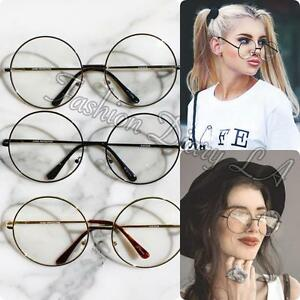 c48a2a56a99 Image is loading LARGE-CIRCLE-OVERSIZED-GLASSES-CLEAR-LENS-METAL-FRAME-