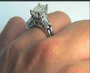 Certified-3-4-ct-Emerald-Cut-Diamond-Wedding-Engagement-Ring-Set-14K-White-Gold