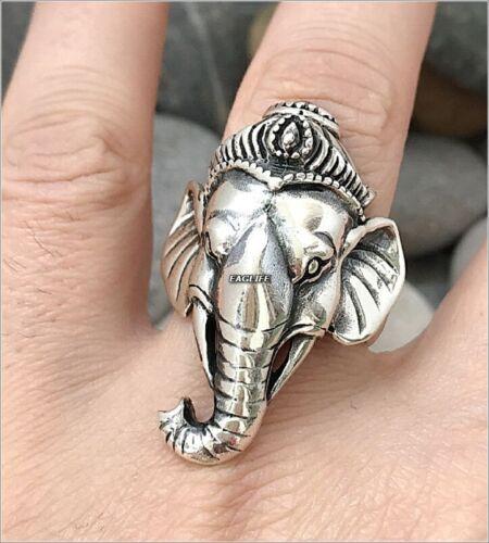 Animal Fashion Men Women Ring Elephant 925 Sterling Silver Ganesh Lord Elephant