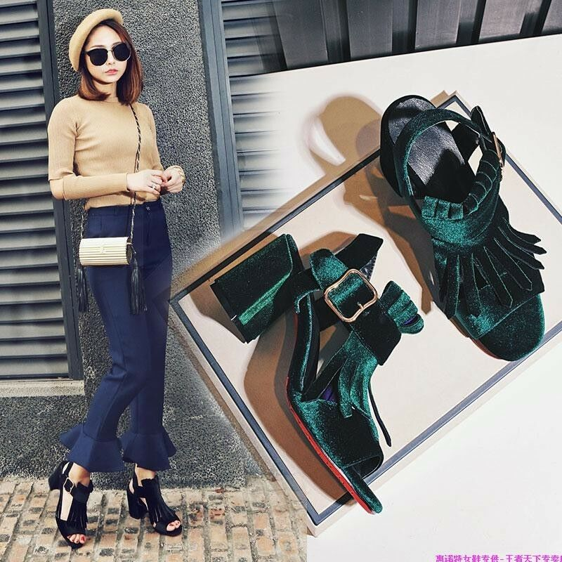 Korea Womens Block High Heels Tassel shoes Buckle Strap Suede Open Toes Sandals