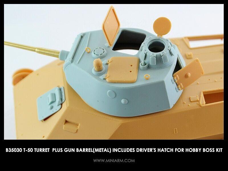 1 35 MINIARM B35030 T-50 Turret plus gun barrel w  driver's hatch Hobby Boss