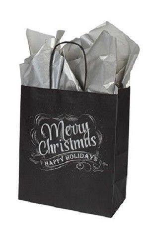 "Paper Shopping Gift Bags 100 Christmas Chalkboard Cub 8 ¼"" x 4 ¾"" x 10 ½"" Black"
