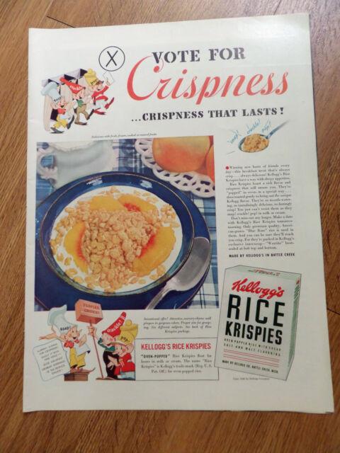 1940 Kellogg's Ad Rice Krispies Snap Crackle Pop Guys ...