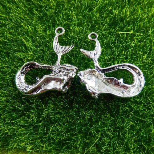 51429 Argent Antique Alliage sirène en forme de Charms Pendentifs Findings Jewelry 14x