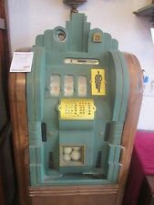 Antique Slot Machine ~ Three Slots ,  Wood and Green Metal Exterior