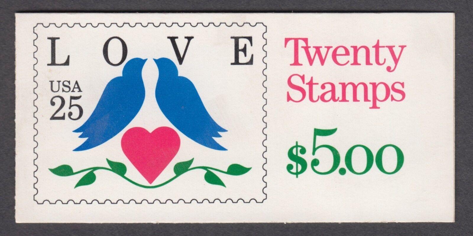 1990 25c Love, Doves Booklet of 20 Scott 2441 Mint F/VF