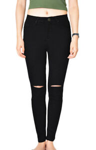 WAKEE-BLACK-RIPPED-KNEE-SKINNY-LEG-JEANS-SIZE-6-18