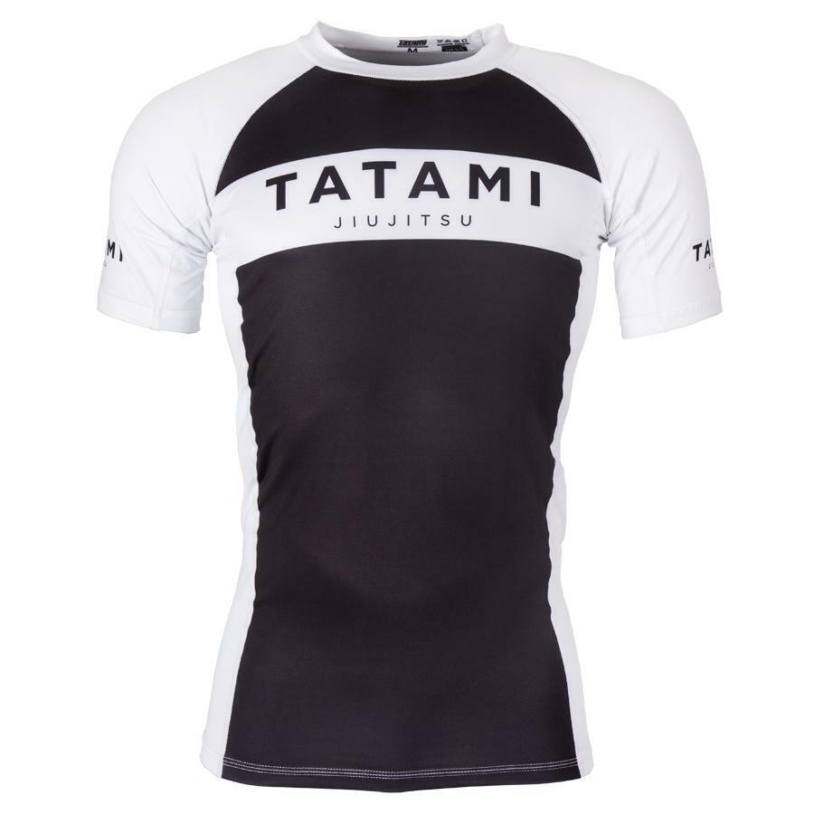 Tatami Originale Rash Guard Manica Corta Bianco Nero Bjj NoGi Ju Jitsu