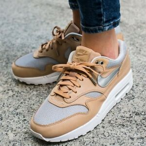 7707c2f6b WOMENS NIKE AIR MAX 1 SE PRM PREMIUM VACHETTA TAN SILVER ATHLETIC ...
