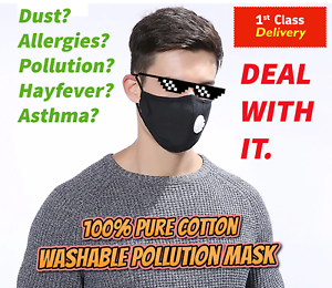 Cotton Pollution Mask Allergy Cycling Dust Asthma Washable Reusable Mouth
