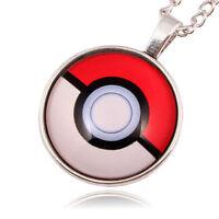 Silver Anime Pokemon Pokeball Jewelry Glass Dome Pendant Necklace