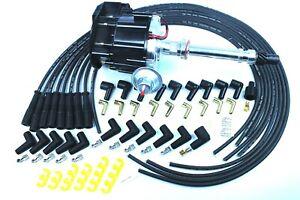 SBC BBC HEI Distributor and Black Spark Plug Wiring Kit
