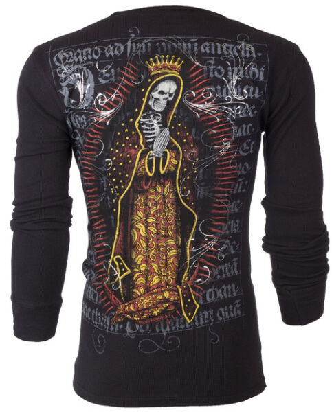 Adaptable Archaic By Affliction Homme Thermique T-shirt Mort Mary Skull Tattoo Biker Ufc 58 $