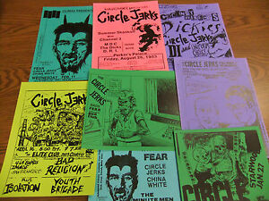 Circle-Jerks-Repo-Concert-Flyer-Lot-Dickies-MDC-China-White-Minutemen-Bags-Gears