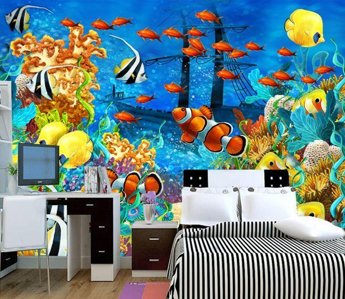 3D Pesci marini Parete Murale Foto Carta da parati immagine sfondo muro stampa