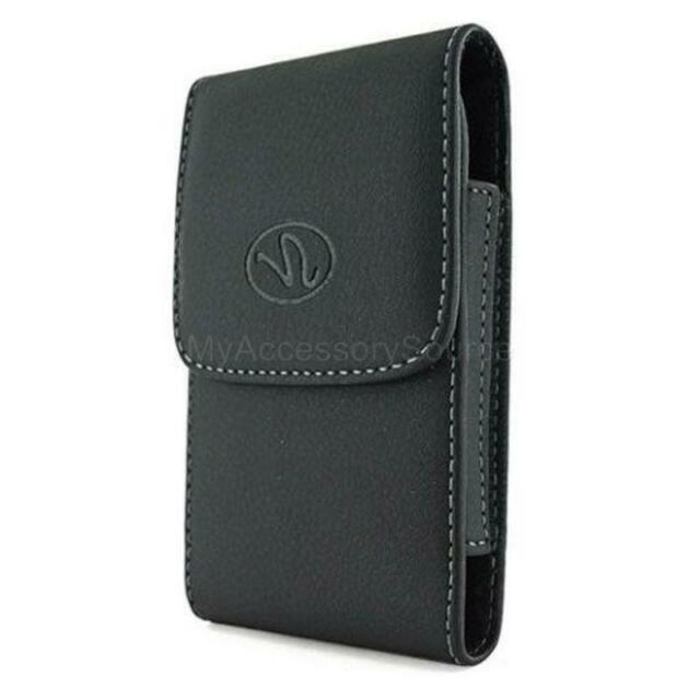 Black Vertical Leather Holster Clip Pouch Cover Fits Phones WITH Lifeproof Case