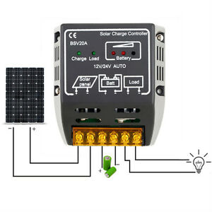 20a 12v/24v Solar Panel Charge Controller Battery Regulator Safe Protection Ar Pure Whiteness Photovoltaik-zubehör