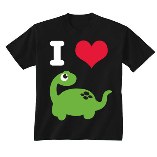 Kids Childrens I Love Heart Dinosaurs Dino T-shirt 5-13 Years