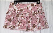 Junior's (Size 3/4) AEROPOSTALE Brown & Pink Floral Mini Skirt Ruffled Hem