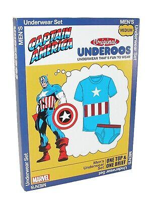 Captain America Men/'s Underoos Marvel T-shirt /& Shorts Sleepwear Set Blue NWT