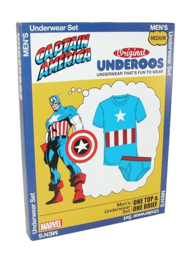 2XL M Underoos Mens Marvel Captain America Shirt /& Boxer Briefs New S