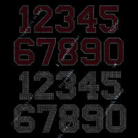 Rhinestone Transfer  Numbers 0 1 2 3 4 5 6 7 8 9 0  Iron On, 6 All Colors