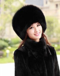 816a4b112a0 Real Winter Women Pelt Fox Fur Hat Lady Black Fur Cap Russian Women ...