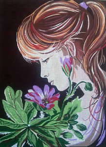 """Young Lady Needlepoint tapestry painted canvas Gobelin D562 18/""""x24/"""""""